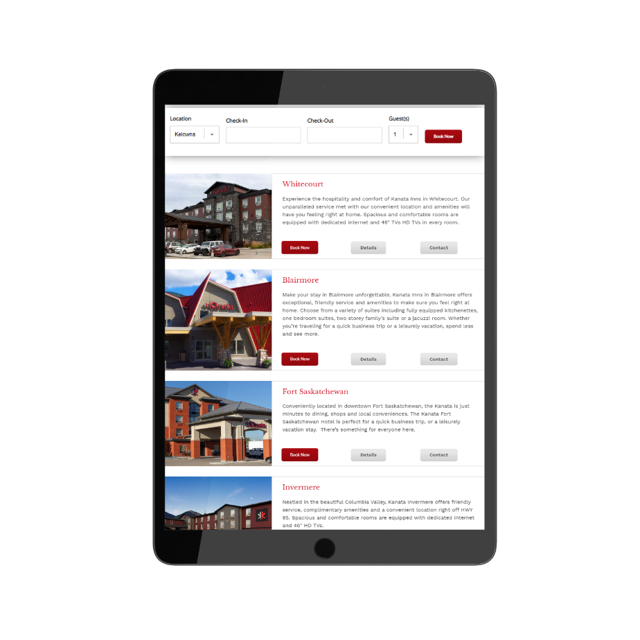 tourism and hotel marketing responsive web design on tablet