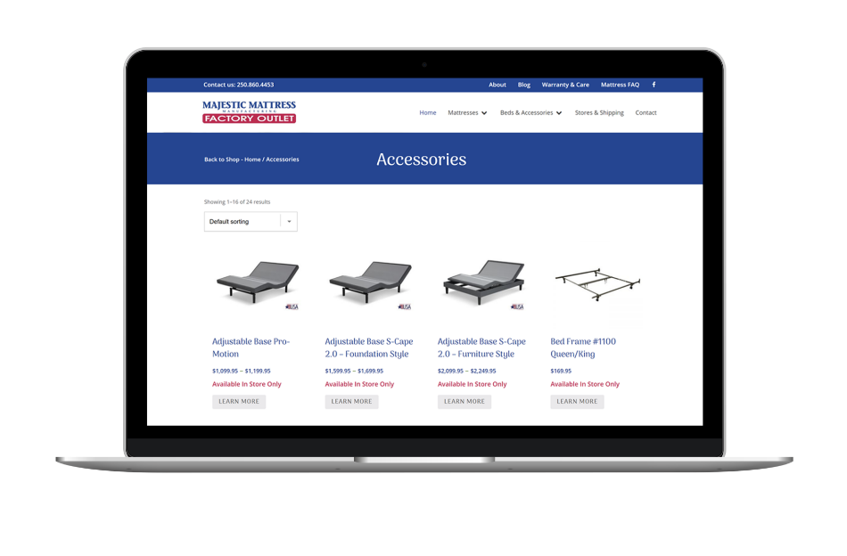ecommerce website design for furniture sales company